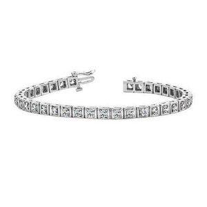 4 Prong set ROUND diamond tennis bracelet solid wh